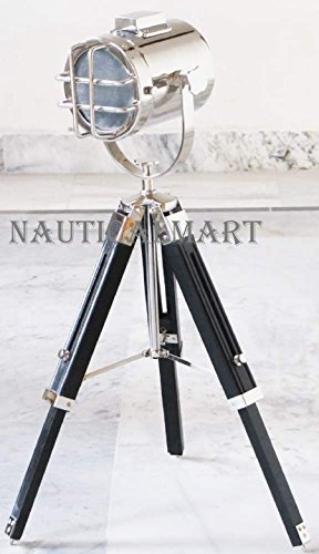NAUTICALMART Marine Nautical Table Lamp Studio Collectible Searchlight with Wooden Tripod Stand Spot Light