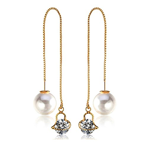 Mintrayor Heart Crystal Long Danling Earrings Pearl Threader Ear Drop Earrings for Women Girls