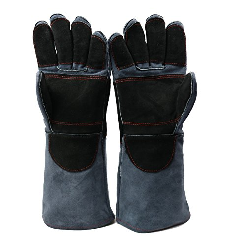 Glove Welder Tig Mig (Arc Welding Gloves, DOURR Forging Gloves Heat & Fire Resistant mittens for Mig/Tig Welders/Oven/Grill/Fireplace/Hot Pan/Stove/BBQ/welders Gloves 16 inch (Black Gray))