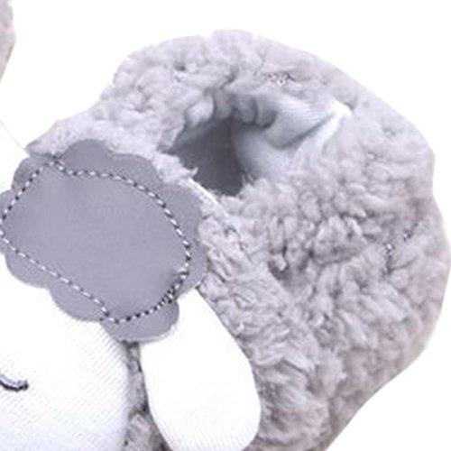 Happy Cherry 1Par Zapatos Bebé de Terciopelo Coral Estampado de Oveja Suela Blanda Otoño Invierno Gris