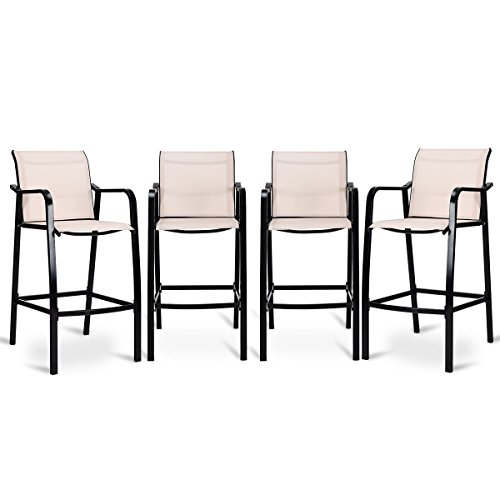 COSTWAY Set of 4 Bar Chairs Modern Style Counter Height Stool Steel Frame Sling Dining Chairs Bar Stools Indoor Outdoor Patio Backyard Kitchen Furniture Set with Armrest (Counter Height Outdoor Sets)