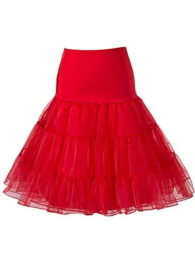 BeiQianE Femmes 1950 Vintage Petticoat genou Tutu jupe jupon Underskirt demi Slips Crinoline pour la noce Rouge