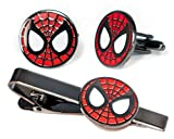 SharedImagination Spider-Man Tie Clip, Minimalist Marvel Avengers Cufflinks, Amazing Spiderman Jewelry, Ironman Captain America Tie Tack Present, Cuff Links Wedding Party Groomsmen Gift