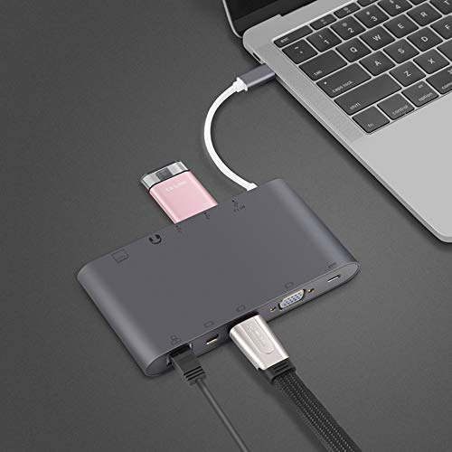 Aceyyk Ultimate 4-in-1 USB-C to HDMI, DVI, VGA DisplayPort DP Hub Adapter,Type C Power Delivery Charger USB 3.0 Hub 3.5mm Audio Aux Output Jack Multi Adapter,Gold