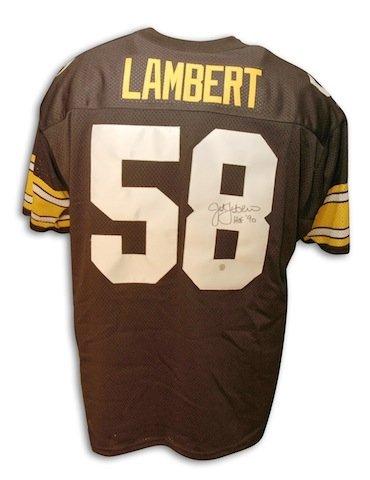Autographed/Hand Signed Jack Lambert Pittsburgh Steelers Throwback black Jersey HOF inscription (Jack Lambert Throwback Jersey compare prices)