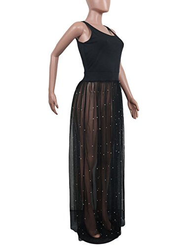 Sleeveless Maxi Sheer Black Perl See Mesh Long Dress Dresses Tank Women's Beading Swing Akmipoem Through xXw5FF