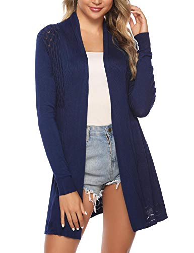 (iClosam Womens Casual Long Sleeve Open Front Cardigan Knit Sweater Navy )