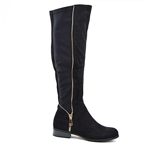 Suede Biker Stretch Footwear Elastic Kick Long Heeld High Black Women's Shaf Panel Boots Knee IRqCOqgxw