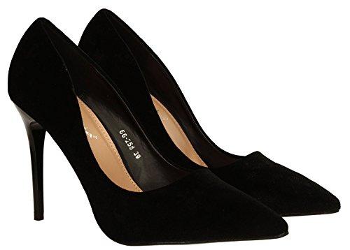Kate Womens Slip On Velvet Stiletto High Heel Ladies Court Shoes - SWANKYSWANS Black E54KVvCyT
