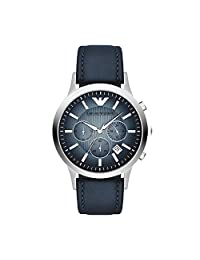 Armani AR2473 43mm Stainless Steel Case Blue Leather Mineral Men's Watch