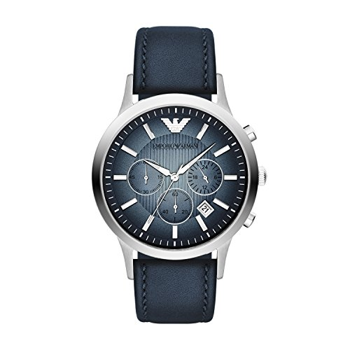 Emporio Armani Classic Chronograph Blue Dial Leather Strap Mens Watch AR2473 by Emporio Armani