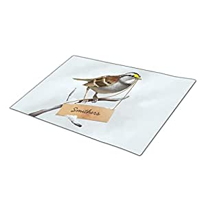 SweetyBox Monogrammed Door Mat Animal Nature Cool Digital White throated sparrow customize family name