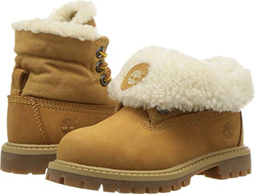 Timberland Baby Icon Collection Roll-top with Fleece Fashion Boot, Wheat Nubuck, 4 Medium US Toddler (Timberland Boots Infant)