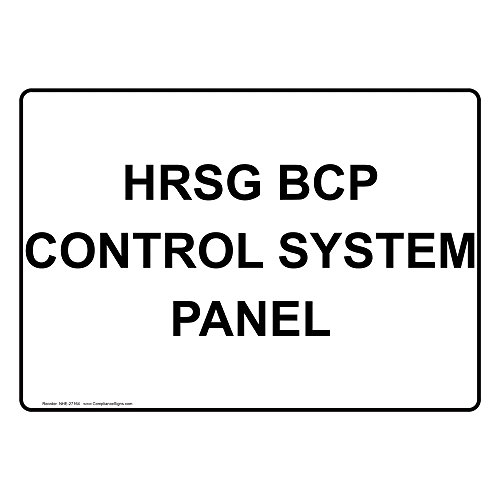 ComplianceSigns Vinyl HRSG BCP Control System Panel Labels, 5 x 3.50 in. with English Text, White, pack of 4 Bcp Panel