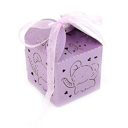 50 Pack Purple Elephant Baby Shower Favor Laser Cut Paper Party Treat Box Girl First 1st Birthday Christening Decoration Holiday Gift Wrapping Supplies (Baby Shower Favors Purple)