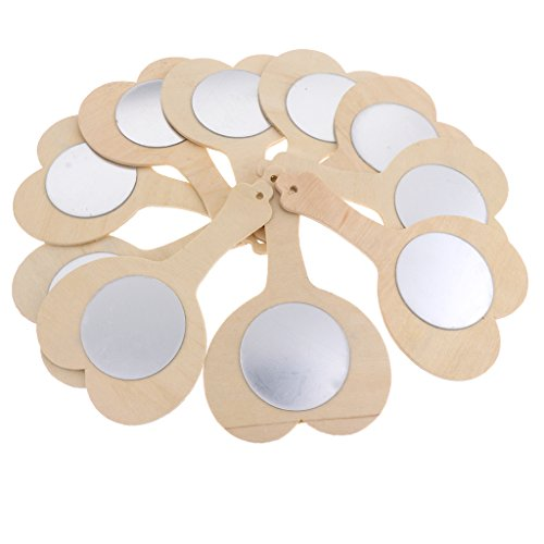 - MonkeyJack 10 Pieces Blank Unfinished Wooden Handheld Mirror For Kids DIY Wood Crafts Toy - Heart