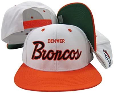 Denver Broncos White/Orange Script Two Tone Adjustable Snapback Hat / Cap