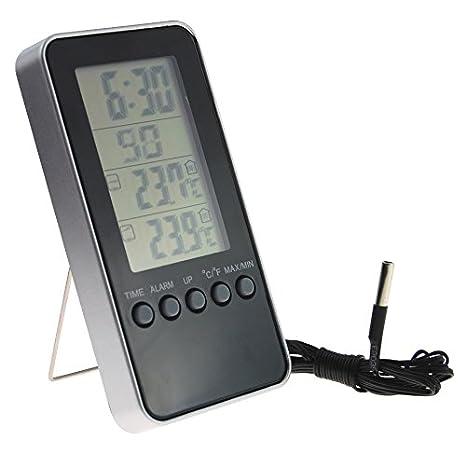 Termómetro digital para interiores y exteriores, con práctico reloj y alarma, ideal para frigorífico, congelador o invernadero: Amazon.es: Grandes ...