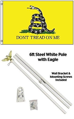 ALBATROS 3 ft x 5 ft Gadsden White Snake Flag with 6 Ft White Flagpole Flag Pole kit Eagle for Home and Parades, Official Party, All Weather Indoors Outdoors ()