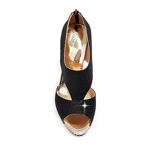 AmoonyFashion Womens High Heels Soft Material Solid Zipper Peep Toe Sandals Black eyloqP