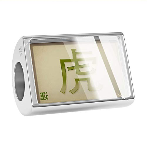 NEONBLOND Charm Tiger Chinese Characters, Green Letter 925 Sterling Silver Bead