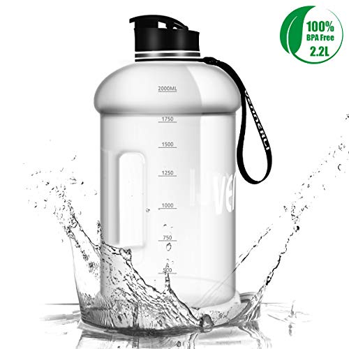 VENNERLI Half Gallon Water Bottle 73 oz Sport Water Jug 2.2L Leak Proof BPA Free Hydro Bottle for Gym Yoga Travel Cycling Camping