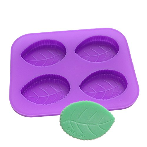 Mold Front Candy (X-Haibei 4-Cavity ONE LEAF Soap Making Supplies Lotion Bar Silicone Mold Homemade)