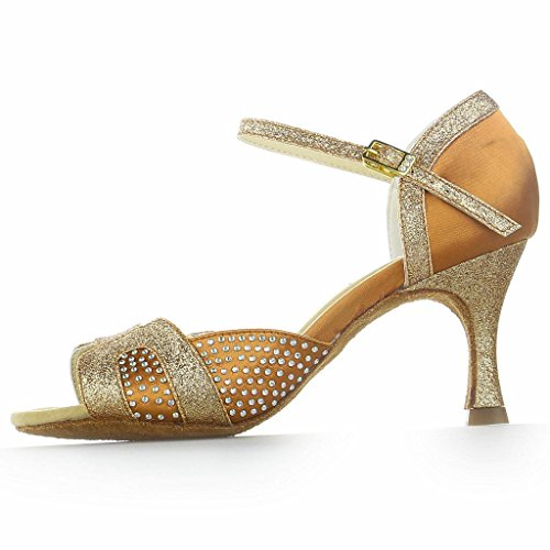 Jia Jia 2057Z Latin Women's Sandals 2.8'' Flared Heel Super Satin with Sparkling Glitter Dance Shoes Tan ZT6U3j