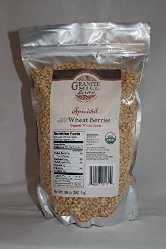 Stone Ground Sprouted Organic Soft White Wheat Berries, 30 oz