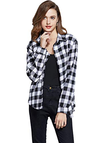 GUANYY Women's Long Sleeve Casual Loose Classic Plaid Button Down Shirt(Classic Black and White X-Large) -