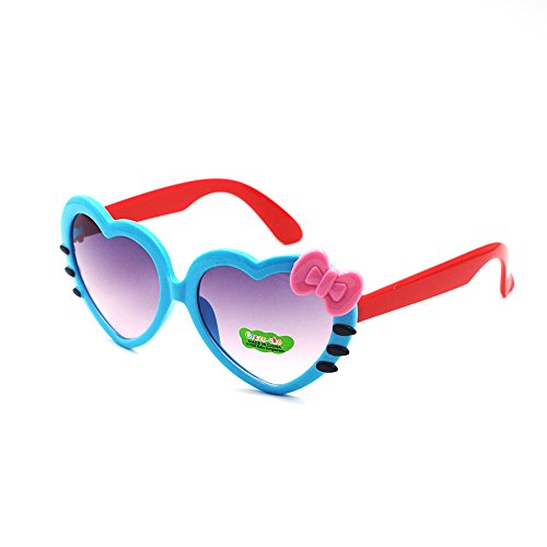 XINMADE Heart Various Kids UV400 Sunglasses for Boys and Girls Age 3-10 (Blue - Kawaii Sunglasses