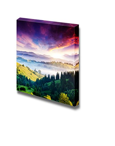 Majestic Mountain Landscape with Colorful Cloud Dramatic Overcast Sky Wall Decor Wood Framed
