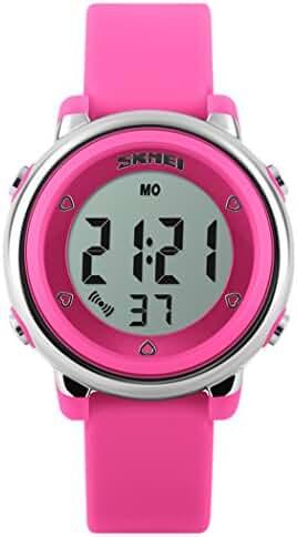 Fanmis Multifunction Digital LED Quartz Watches Water Resistant Children Girls Boy Sports Watch Hot Pink