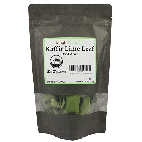 Organic Dried Kaffir Lime Leaves from Citrus Hystrix plant, also known as Makru (0.5 OUNCE BAG)