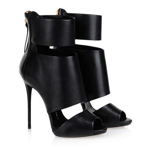 Zapatos de tacón alto sandalias de Roma del desfile de moda sandalias de tacón alto de las sandalias Black