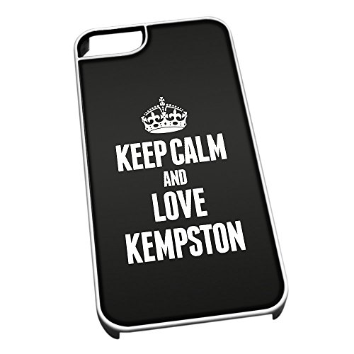 Bianco cover per iPhone 5/5S 0362 nero Keep Calm and Love Kempston