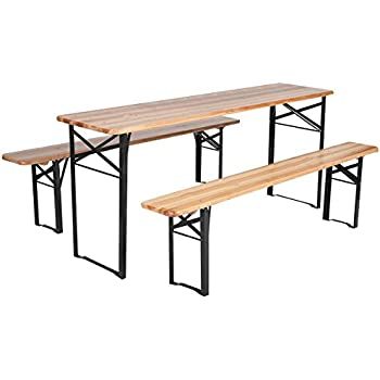 this item giantex 3 pcs beer table bench set folding wooden top picnic table patio garden