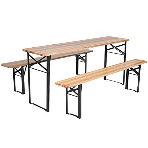 Giantex 3 PCS Beer Table Bench Set Folding Wooden Top Picnic Table Patio Garden