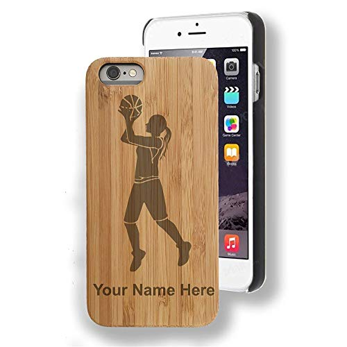 Bamboo case Compatible with iPhone 7 Plus and iPhone 8 Plus, Basketball Player Woman, Personalized Engraving Included