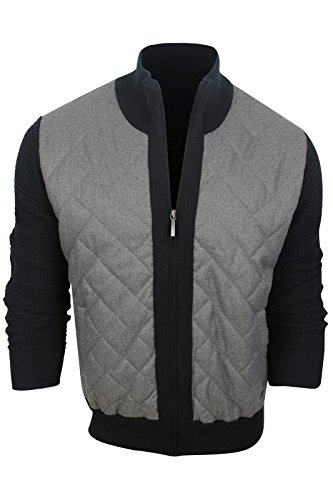 DKNY Jeans Men's Long Sleeve Quilted Woven Front Sweater Jacket, Black, - Dkny Men Sweaters