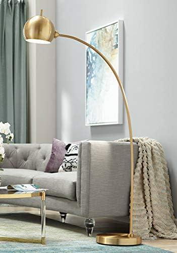 Capra Modern Chairside Arc Floor Lamp Antique Brass Swivel Head