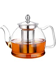Hiware 1000ml Glass Teapot with Removable Infuser, Stovetop Safe Tea Kettle, Blooming and Loose Leaf Tea Maker Set