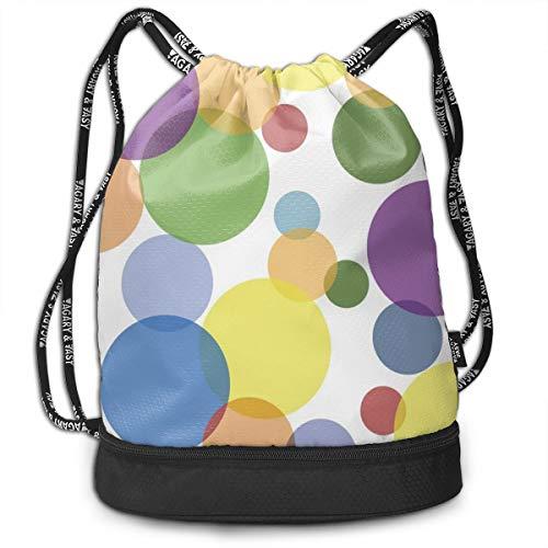 (ELKFOREST Cool Polka Dot Drawstring Backpack Bags Sack Pack Cinch Storage Bag for Traveling Hiking)