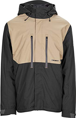Bonfire Firma 3-in-1 Stretch Snowboard Jacket Black/Khaki Mens Sz M