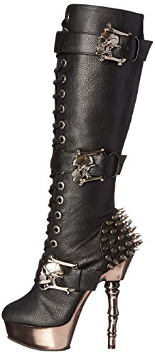 Pleasermuerto 2028 Leather blk Donna Chrome Vegan black pewter Nero Stivali rrqSa
