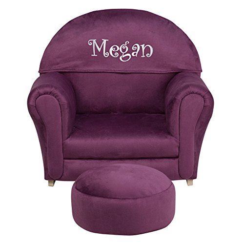 Flash Furniture Personalized Kids Microfiber Rocker Chair and Footrest, Purple