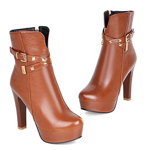 Aisun Womens Fashion Studded Buckle Strap Round Toe Side Zipper Dress Chunky High Heel Platform Booties Ankle Boots Shoes Brown Iurh4t