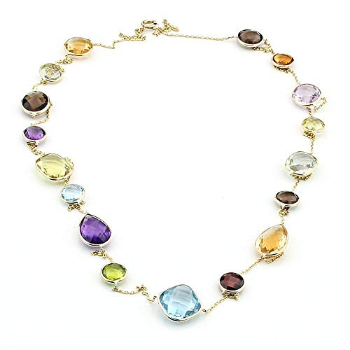 14K Yellow Gold Handmade Station Necklace With Large Gemstones 36 Inches
