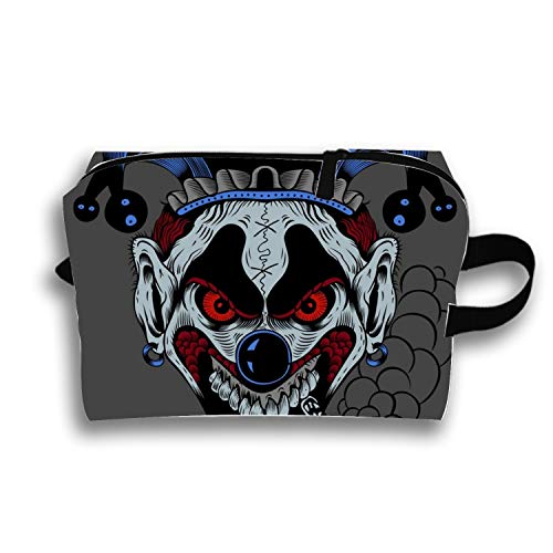 Women's Cosmetic Bags Scary Clown Makeup Pouch Travel Toiletry Storage Bag
