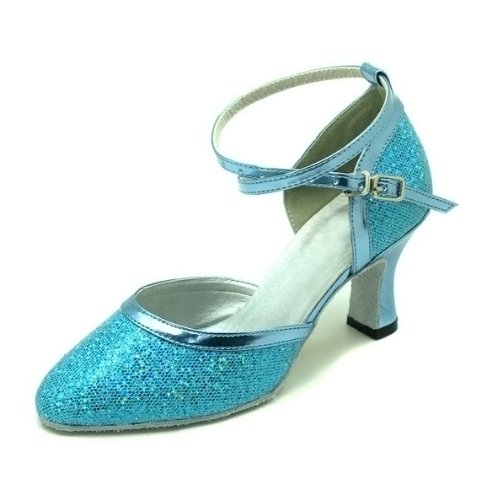 Water Cube Colorful Purple Silver Gold Blue Pink flash of Ladies ballroom modern Dance shoes Blue Flash mJ1VC